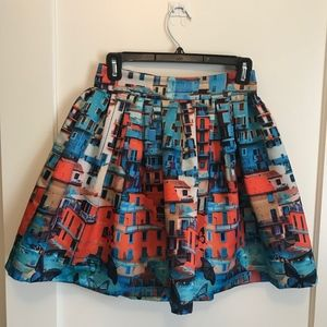 Toile Skirt With City Design